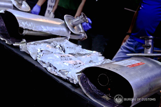 SEIZED. Part of the shabu shipment discovered inside car mufflers in a shipment at the NAIA. Photo from Bureau of Customs