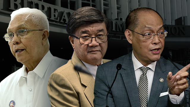 THE PRESIDENT'S MEN. Secretary to the Cabinet Leoncio Evasco Jr (left) tries to break the impasse on the immigration pay issue. Justice Secretary Vitaliano Aguirre II (middle) and Budget Secretary Benjamin Diokno have stood firm on their respective positions on the  matter.