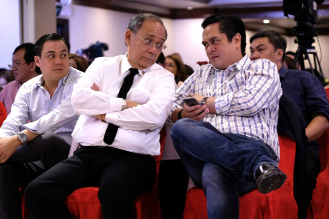 COMMUNICATIONS TEAM. Presidential Spokesman Ernesto Abella (2nd from right) has been given content and messaging after repeated blunders by Communications Secretary Martin Andanar (1st from right). Photo by Ace Morandante/Presidential Photo