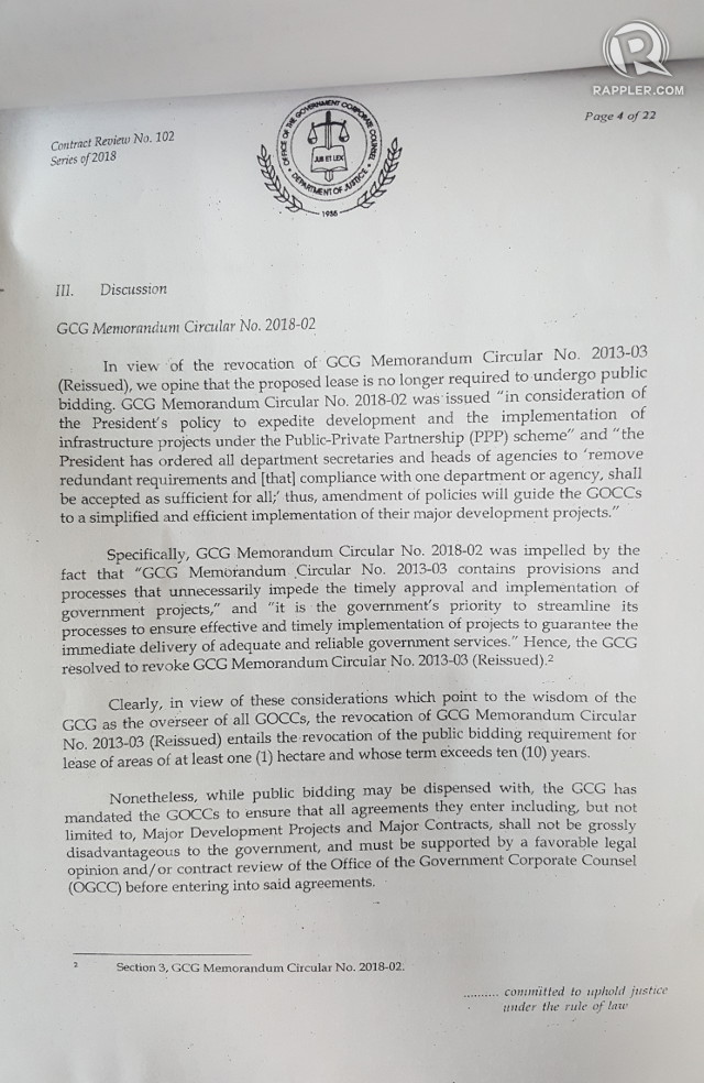 A portion of the March OGCC legal review shows it waived the public bidding requirement due to a February 2018 GCG Memorandum Circular signed by two of Duterte's economic managers