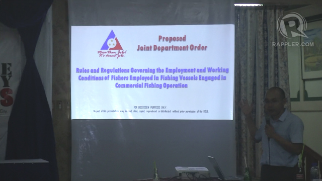 PROPOSAL. Romy Montefalco, Director of the Department of Labor and Employment Legal Service presents to stakeholders of the tuna fishing industry the proposed regulation on the employment of handliners. Photo by Buena Bernal/Rappler