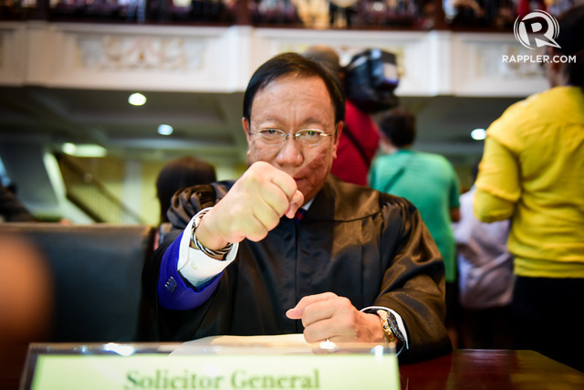 UNDER FIRE. Solicitor General Jose Calida faces a complaint filed with the Office of the Ombudsman over some government deals of a security firm owned by his family. File photo by Rappler