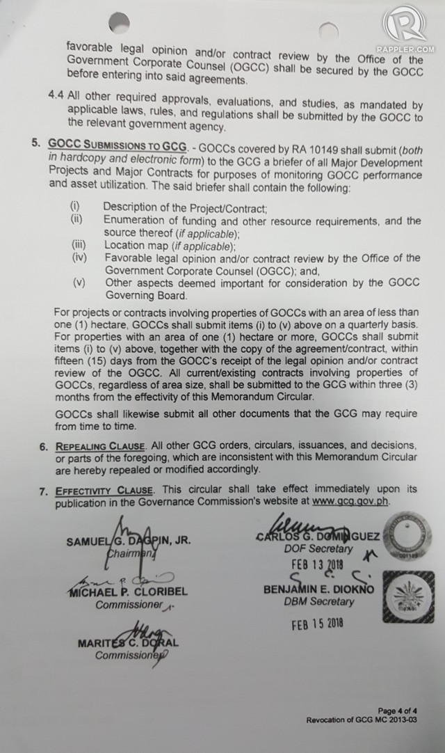 The last page of the GCG memorandum circular revoking a 2013 memorandum circular bears the signatures of Finance Secretary Sonny Dominguez iand Budget Secretary Benjamin Diokno