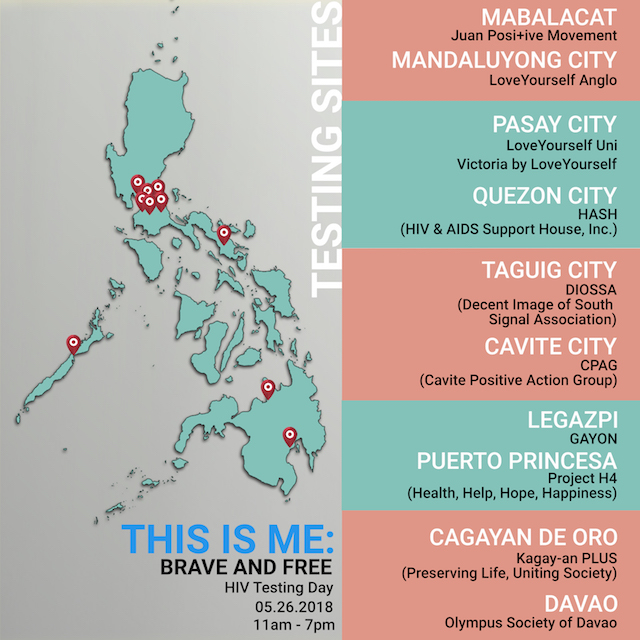 TESTING SITES. Areas across the Philippines where free HIV testing will be conducted on May 26, 2018.