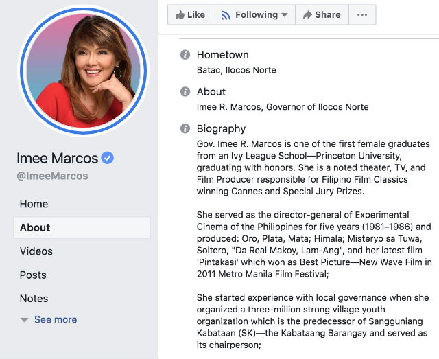 Screenshot from Marcos' Facebook page