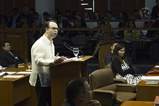 FIGHTER IN THE SENATE. Alan Peter Cayetano says he's been 'consistent' in never backing out of the fight for truth. Photo by Franz Lopez/Rappler