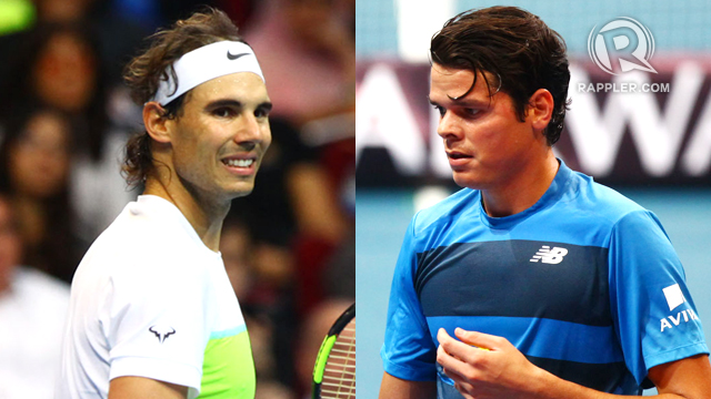 LOOKING FORWARD. Rafa Nadal (L) and Milos Raonic (R) discussed the future of tennis in the Philippines during the IPTL. File photos by Josh Albelda/Rappler