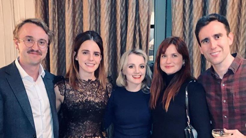 Look Emma Watson Tom Felton Harry Potter Cast Reunite For Holiday Photo