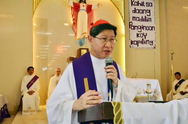 VOICE OF GOD. Manila Archbishop Luis Antonio Cardinal Tagle on March 23, 2016, tells residents of the Manila City Jail not to lose hope. Photo by Noli Yamsuan/Archdiocese of Manila
