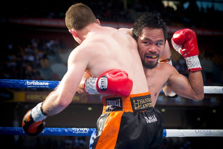 'NA SET-UP AKO.' Manny Pacquiao says he felt he was leading by 4 or 5 rounds, saying he felt he may have been u0022set-upu0022 in the fight. Photo by Patrick Hamilton/AFP