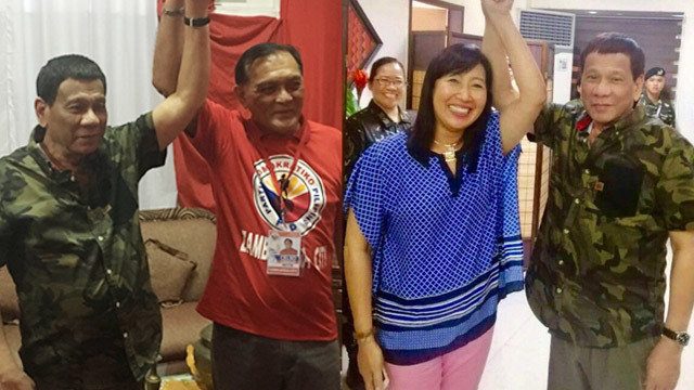 WHO IS THE REAL BET? President Rodrigo Duterte endorses two opposing mayoralty candidates in Zamboanga City. Photos from official Facebook accounts of Lobregat and Climaco