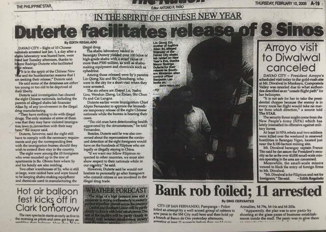 PANDORA'S BOX. Philippine Star's news item on Davao City Mayor Rodrigo Duterte's release of the 8 Chinese businessmen involved in drug operations in 2005. Photo from the Office of Senator Antonio Trillanes IV