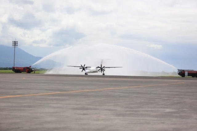 CELEBRATION. A PAL Express plane receives a water cannon salute at the Clark International Airport after completing an inaugural flight in 2017. File photo from PAL
