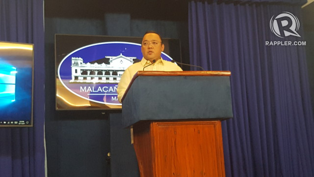 PALACE STANCE. Presidential Spokesman Harry Roque takes questions from the media on President Duterte's letter asking Congress for martial law extension. Photo by Pia Ranada/Rappler