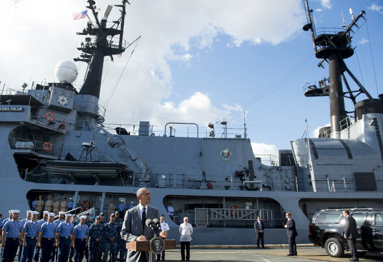 MARITIME SECURITY. US President Barack Obama speaks following a tour of the BRP Gregario Del Pilar in Manila Harbor in Manila on November 17, 2015 after arriving to attend the Asia-Pacific Economic Cooperation (APEC) Summit. Photo by Saul Loeb/AFP