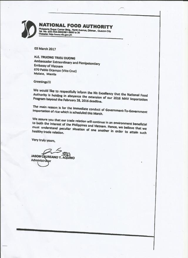 NFA Administrator Jason Aquino's letter to Vietnamese Ambassador on March 3, 2017. Rappler sourced document