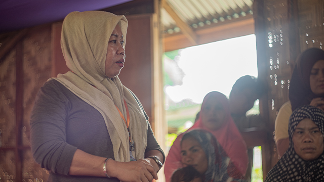 Peace advocate Noraida Abo, who heads the womenu2019s rights organization United Youth of the Philippines-Women (UnYPhil-Women) based in Cotabato, urges u201cMoro women to continue the struggle for genuine and lasting peace in the Bangsamoro homeland.u201d UnYPhil-Women is Oxfam Pilipinasu2019 partner in recognizing the role of women in the peace process.  (Photo: Vina Salazar/Oxfam)
