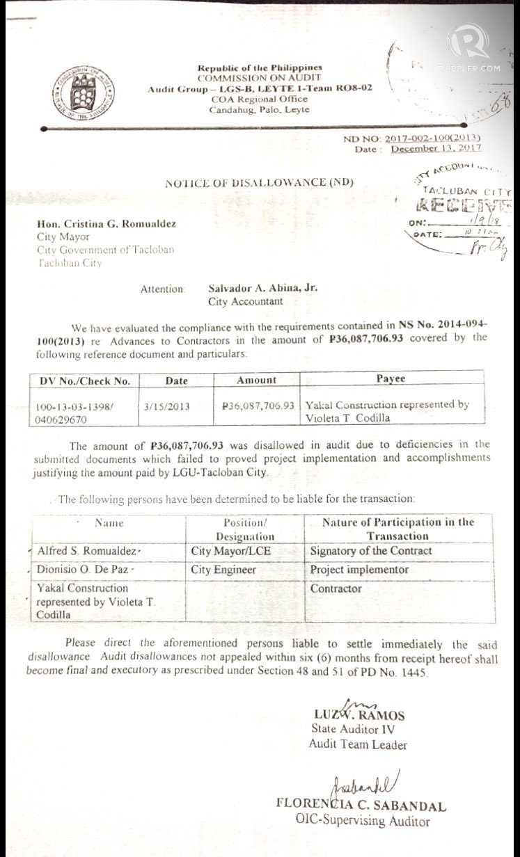 DISALLOWANCE. The Commission on Audit asks the Tacloban LGU to return to treasury P36 million worth of advances that it paid a construction firm for a drainage project in March 2013. Photo obtained by Rappler