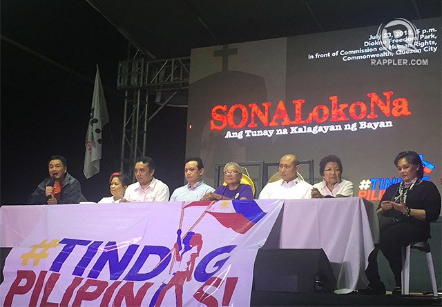 OPPOSITION. (L-R) In this photo, opposition leaders including LP official Erin Tau00f1ada, former DSWD secretary Dinky Soliman, lawyer Barry Gutierrez, Senator Antonio Trillanes, former peace process adviser Ging Deles, Congressman Gary Alejano, former CHR chair Etta Rosales, and singer Leah Navarro react to Duterte's SONA. Photo by Sofia Tomacruz/Rappler