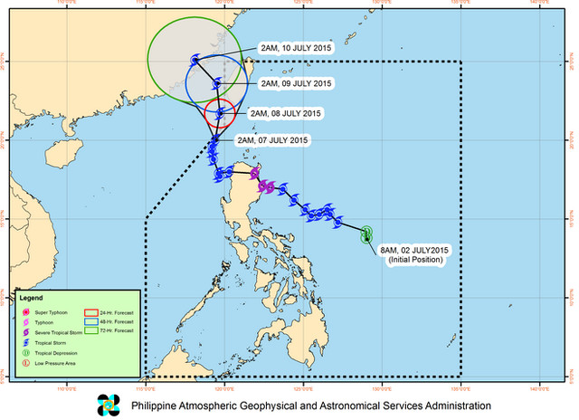 Track of Tropical Storm Egay from PAGASA