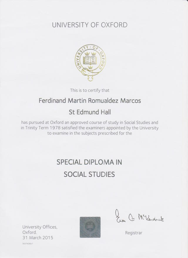 SPECIAL. Oxford University gives Senator Ferdinand Marcos Jr a 'special diploma' in Social Studies