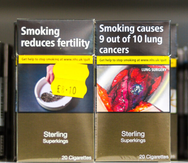 PACKAGING. The health warnings on UK cigarette packaging are in line with the WHO treaty. Photo courtesy of Alamy