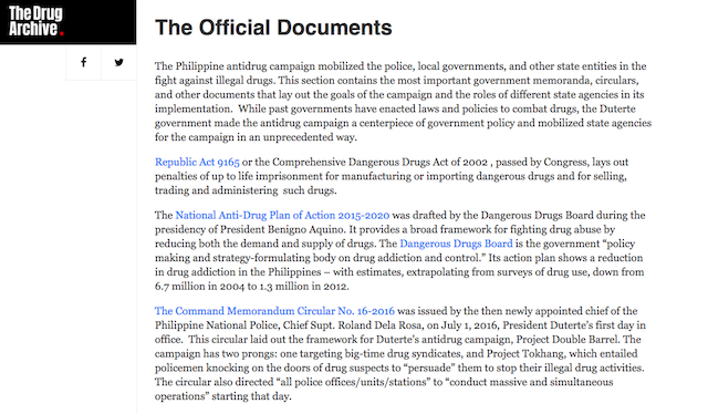 DOCUMENTS. The website summarizes documents related to the anti-drug campaign and gathers links to their complete texts. Screengrab from The Drug Archive website