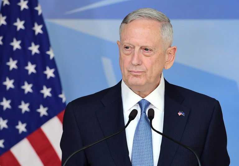 DEFENSE CHIEF. US Defense Secretary James Mattis addresses the press during a NATO defense ministers' meetings at the NATO headquarters in Brussels on February 15, 2017. File photo by Emmanuel Dunand/AFP