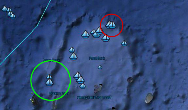KILOMETERS APART. The two encircled boat-icons are the ones closest to each other in this Google Earth image. In each circle, the boat icons are around 3 to 5 nautical miles (7 to 9 kilometers) apart. Screenshot from Jay Batongbacal