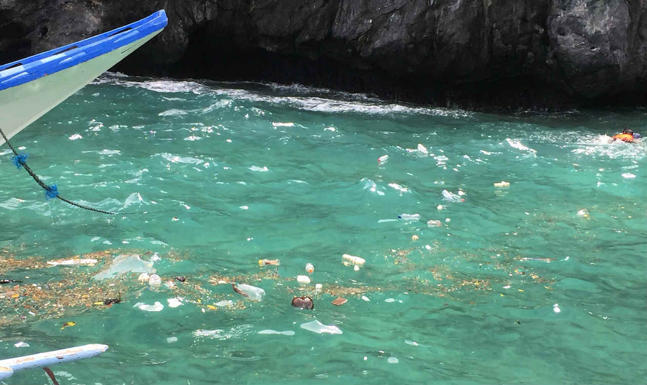 WASHED UP. Plastic bottles have appeared in El Nido's tourist spots and beaches, particularly during the habagat season. Photo by Jesus Llanto