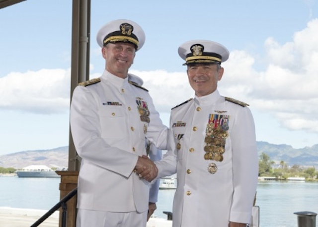 NEW CHIEF: US Navy chief of naval operations Admiral Jonathan Greenert with new US Pacific Command chief Admiral Harry Harris Jr. Petty Officer 1st Class Jay Chu, US Pacific Command