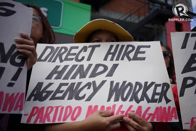 NO TO ENDO. Workers belonging to the Nagkaisa Coalition march to Mendiola in Manila on January 4, 2016 to call on the government to end the practice of contractualization. File photo by Martin San Diego/Rappler