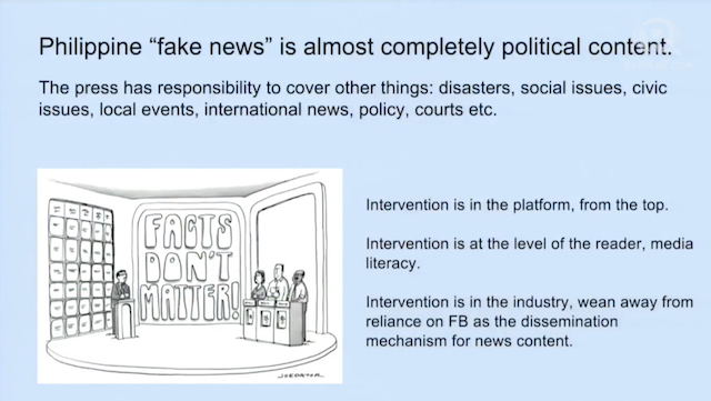 HIGHLY POLITICAL. UP professor Clarissa David observes that 'fake news' in the Philippines is mostly about political content. Screenshot from Rappler video