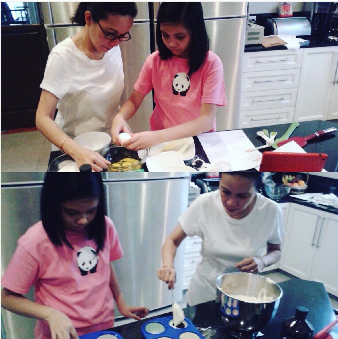 BAKING. Presidential bet Grace Poe spends quality time wih her youngest daughter by baking cupcakes together. Photo from Poe's Instagram account