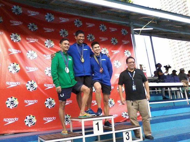 MEN'S PODIUM. Jessie Lacuna (gold), Sacho Illustre (silver) and Miguel Barlisan (bronze). Photo from UAAP release