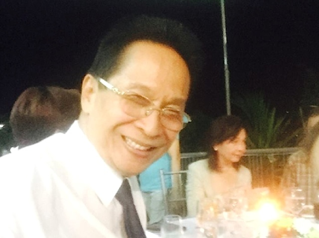 DUTERTE LAWYER. Salvador Panelo, lawyer of Davao City Mayor Rodrigo Duterte, takes a selfie at the birthday party of former president Gloria Macapagal Arroyo in her La Vista home on April 5, 2016. The caption of his photo, says the guests include 'volunteer ladies of Duterte.'