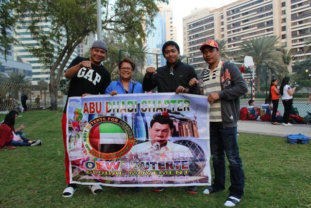 ROOTING FOR RODY. OFWs in Abu Dhabi declare their support for the Davao City mayor. Photo from Rody Duterte Supporters OFW Global Movement Facebook group
