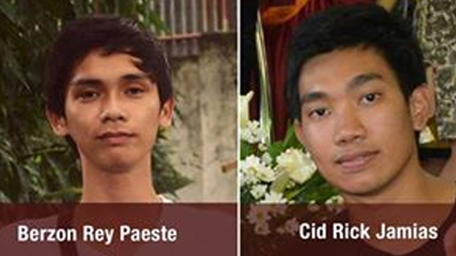 MISSING STUDENTS. MSU students Berzon Rey Paeste and Cid Rick Jamias remain with their captors. Photo from MSU-IIT Facebook page