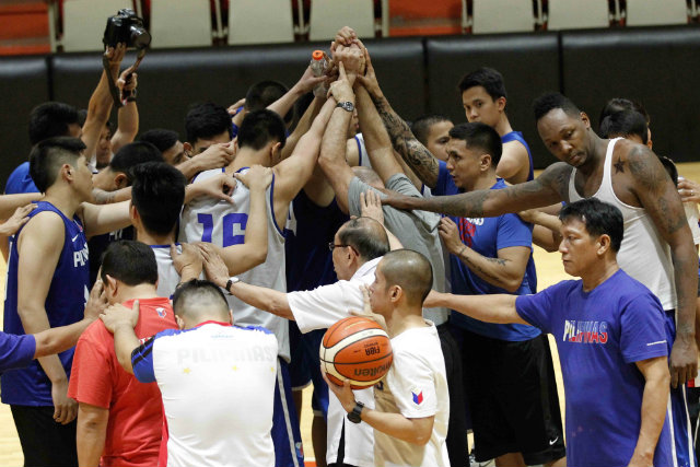 The Gilas Cadets wrap up practice. Photo by Czeasar Dancel
