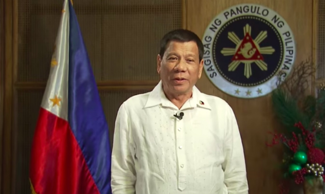 CHRISTMAS MESSAGE. President Rodrigo Duterte encourages Filipinos to remember those severely affected by the Marawi siege. Screenshot from PCOO video