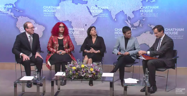 BATTLING DISINFORMATION. Chatham House hosts a discussion on social media and press freedom. Screenshot from Chatham House video