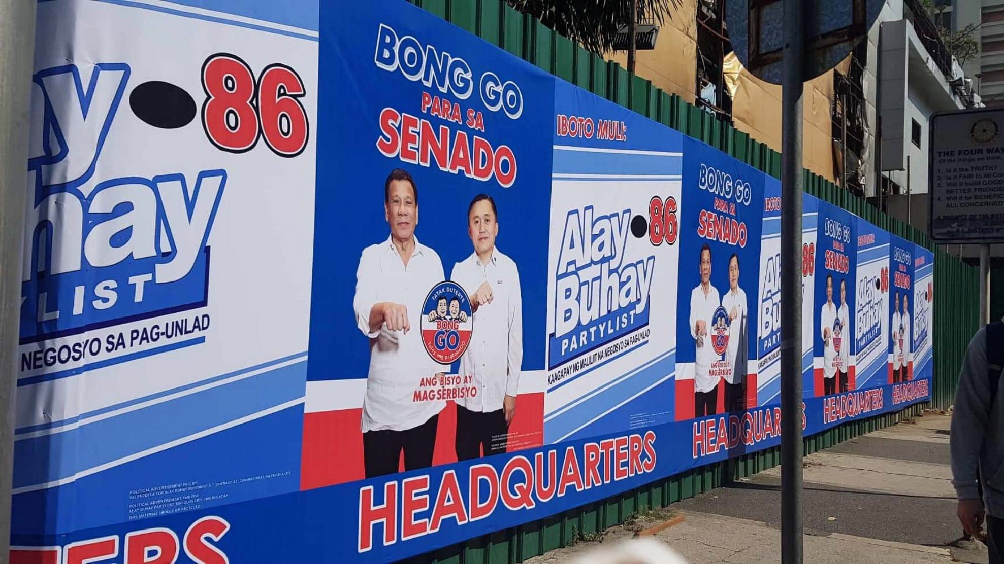 ILLEGAL POSTER. Under Republic Act No. 9006 or the Fair Elections Act, campaign posters should measure no more than 2 feet by 3 feet. Screenshot from Twitter/COMELEC