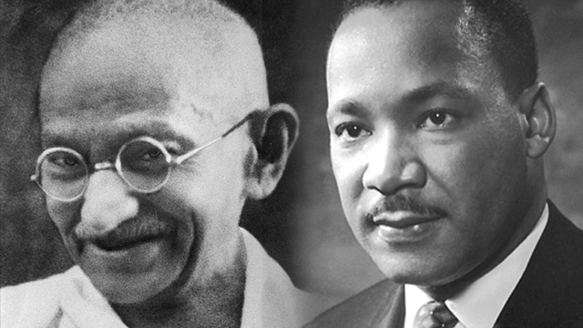 GANDHI AND MLK. Mahatma Gandhi and Martin Luther King Jr espoused active, non-violent means of protest in their respective campaigns for freedom.