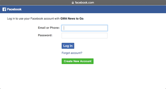 Screenshot of log-in window to use a Facebook account with a supposed 'GMA News to Go' app
