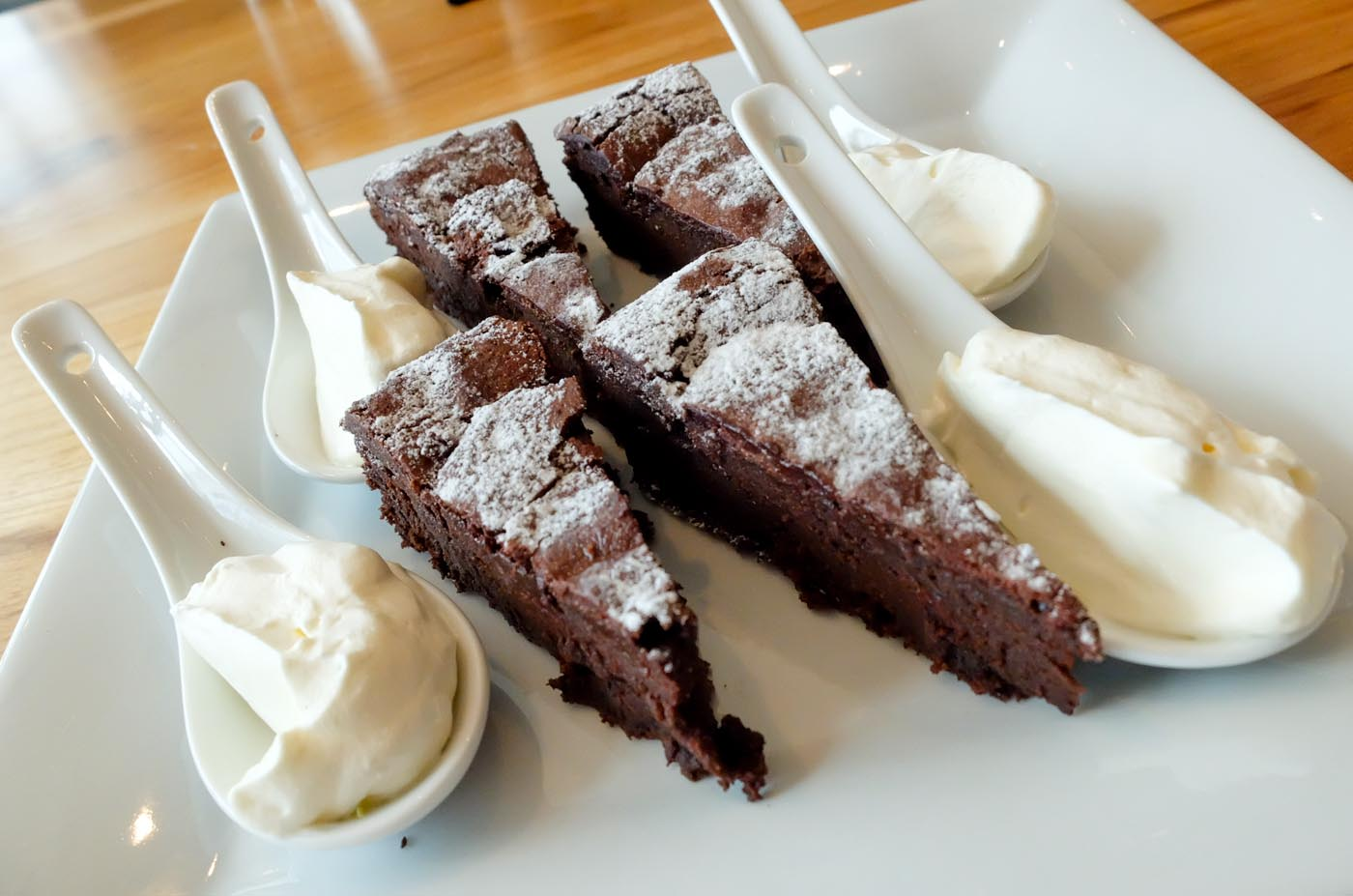 SWEET. The line up of mouth-watering desserts such as this Torta Caprese (Chocolate Cake) is also one for the books