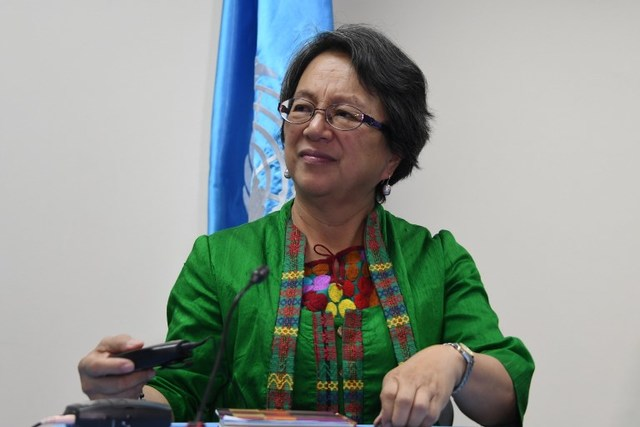 INDIGENOUS PEOPLES. UN Special Rapporteur on the rights of indigenous peoples Victoria Tauli-Corpuz listens to questions at a press conference in Tegucigalpa, Honduras, on April 20, 2017. File photo by Orlando Sierra/AFP