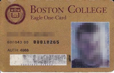 1993 ID. Poe's ID had a different look than this one issued in 1993. This one was found in the blog of a former Boston College student.