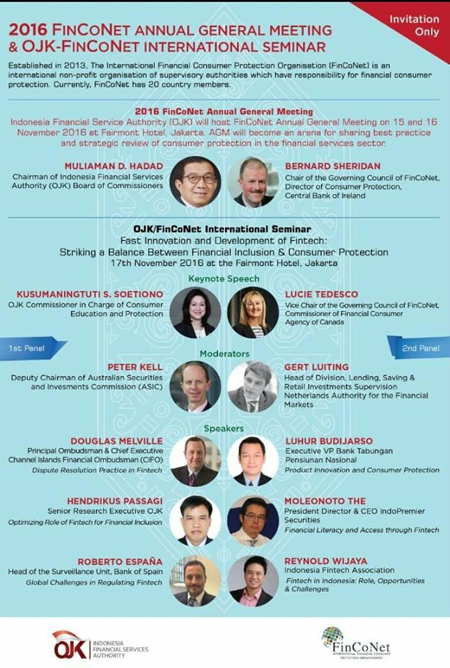 Seminar internasional OJK/FinCoNet dengan tema tema u0022Striking a Balance Between Innovation and Consumer Protectionu0022 akan digelar di Hotel Fairmont, Jakarta, 17 November.