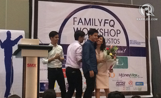 MOTHERLY LOVE. Brothers Martin, Enrique, and Anton celebrating their mom Rose onstage the eve of Mother's Day at the Family FQ Workshop.
