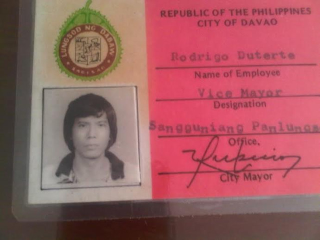 THE BEGINNING. This is Rodrigo Duterte's first ID as a local government official when he became OIC Vice Mayor of Davao City in 1986. Photo courtesy of Editha Caduaya/Rappler